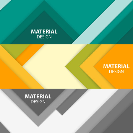 Set of three horizontal material design banners. Modern vector illustration. Stock Illustratie