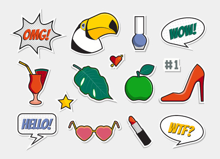 Vector set of badges, icons, stickers, patches, pins with toucan, cocktail, heels, apple, sunglasses, lipstick, leaf, varnish, heart with arrow. Comic speech bubbles with phrases: WOW, OMG, WTF, hello