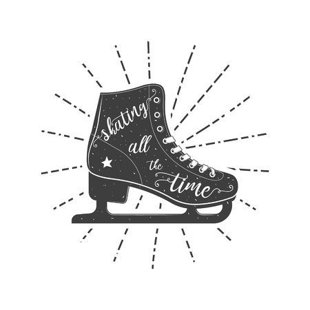 Figure skate typographic poster. Vector illustration isolated on white background