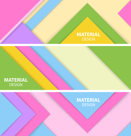 Három vízszintes anyag tervezési banner készlet. Modern absztrakt vektoros illusztráció. Illusztráció