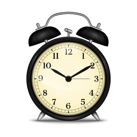 Realistic alarm clock. Vector illustration, isolated on white background.