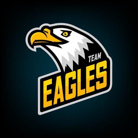 Eagle logó a sportcsapathoz. Embléma, csapatmascot, blazon, pólónyomtatás, címke, logó sablon. Vektoros illusztráció.