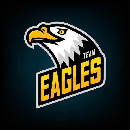 Eagle logo for sport team. Emblem, team mascot, blazon, t-shirt print, label, logotype template. Vector illustration. Stock Illustratie