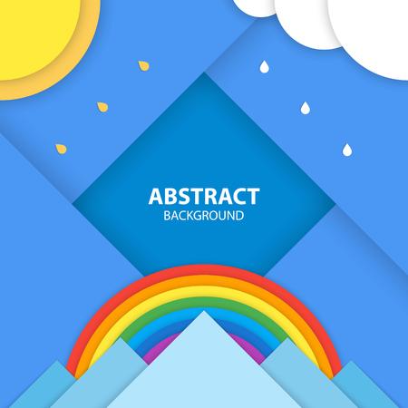 Platte stijl natuur landschap met de zon, wolken op de lucht, regenboog en bergen. Modern materiaal ontwerp vector illustratie.