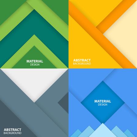 Conjunto de cuatro banners de diseño cuadrado de material. Ilustración abstracta moderna del vector.
