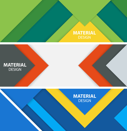 Set of three horizontal banners in material design style. Modern abstract vector illustration.