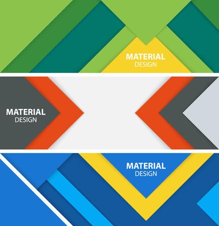 Set van drie horizontale banners in materiaalontwerpstijl. Moderne abstracte vectorillustratie.