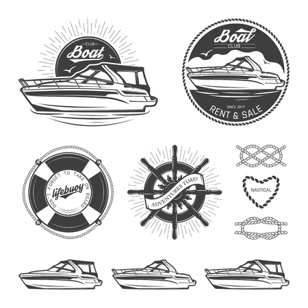 Szüreti tengerészeti logók, címkék, emblémák és design elemek készlete. Vektoros illusztráció, elszigetelt fehér háttérrel.