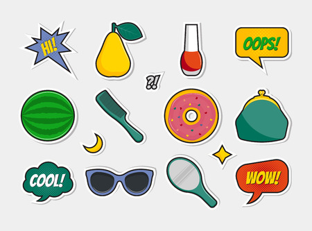 Vector conjunto de insignias, iconos, pegatinas, parches, pins con pera, barniz, sandía, peine, donut, monedero, gafas de sol, espejo. Burbujas cómicas del discurso con las frases: hola, OOPS, fresco, WOW.