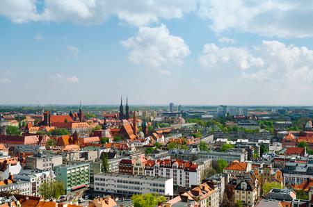 Cityscape panorama of Wroclaw old city, Poland 版權商用圖片