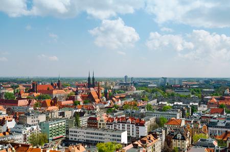 Városkép panoráma Wroclaw régi város, Lengyelország Stock fotó