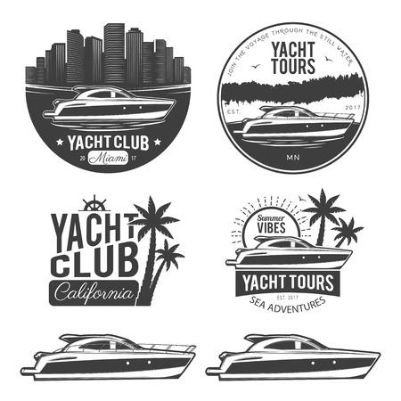 Jachtr logók, címkék, emblémák és design elemek készlete. Vektoros illusztráció, elszigetelt fehér háttérrel.