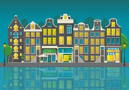 Amsterdam city street Illusztráció