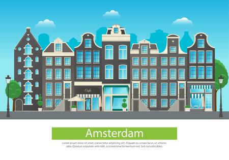 阿姆斯特丹市街道典型的建築 向量圖像