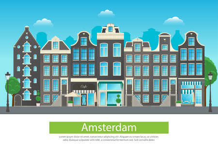 Amszterdam városi utca jellegzetes építészetével