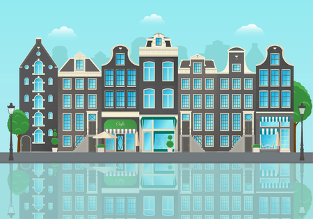 Amsterdam city street Stock Illustratie