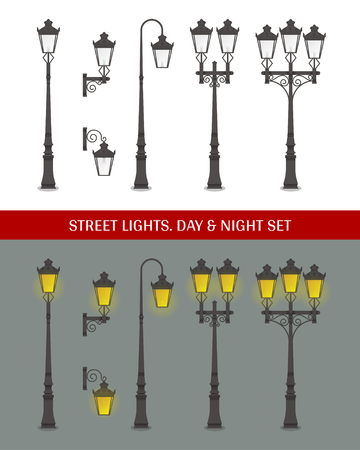 Set of classic decorative street lanterns