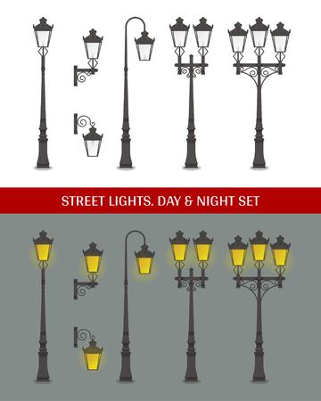 Set van klassieke decoratieve straatlantaarns
