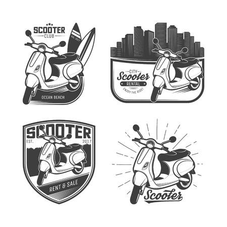 Conjunto de emblemas de scooter, logos, etiquetas y elementos de diseño. Ilustración de vector aislado sobre fondo blanco