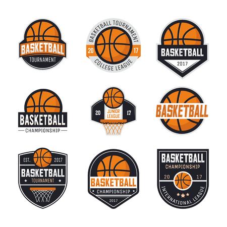 Conjunto de logotipos de baloncesto, emblemas, etiquetas y elementos de diseño. Ilustración de vector aislado sobre fondo blanco Vectores