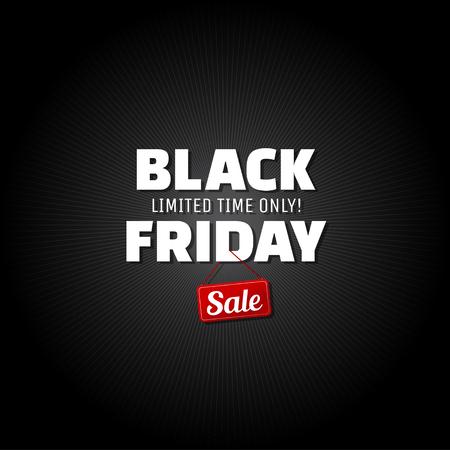 Zwarte vrijdag banner. Zwarte vrijdag verkoop poster. Vector illustratie.