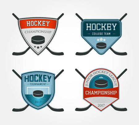 Set of colorful hockey logos, labels, emblems. Vector illustration. Ilustração