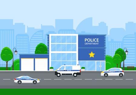 Departamento de policía en la ciudad con carros de policía.
