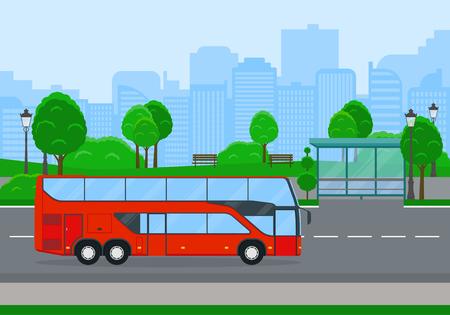 Red shuttle bus. 向量圖像