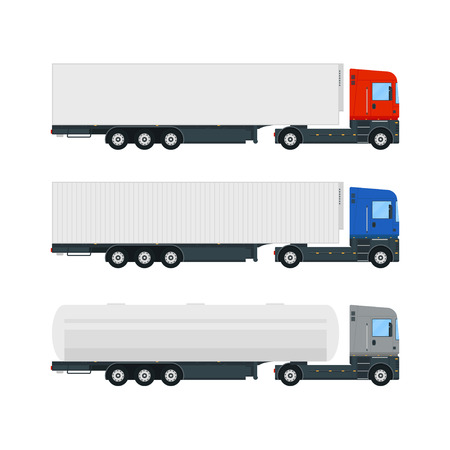 Set of three truck trailers. Stake body and tarpaulin truck. Tanker truck. Box truck. Flat style vector illustration. Ilustração