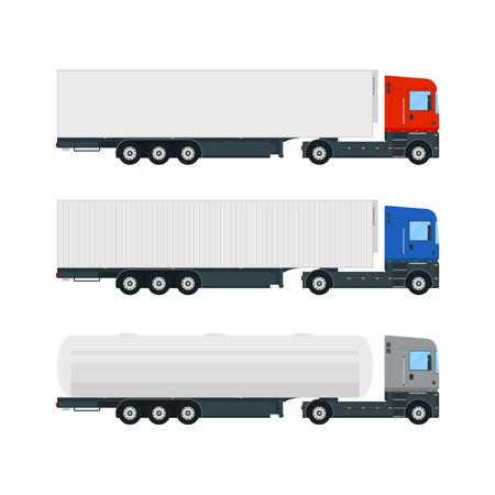 Set van drie vrachtwagentrailers. Oprolwagen en dekzeilwagen. Tankwagen. Box truck. Vlakke stijl vectorillustratie.