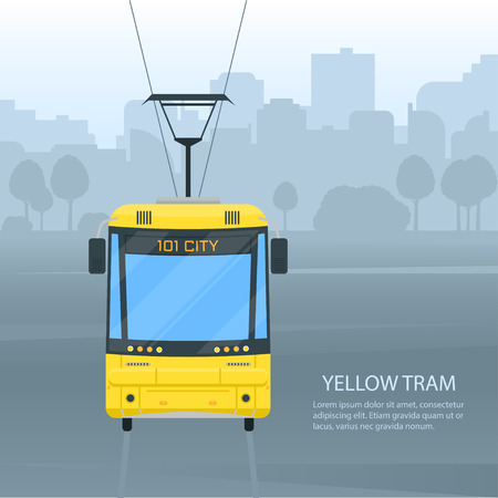 City tram public transport vector flat style illustration. Rail urban transport with cityscape background.