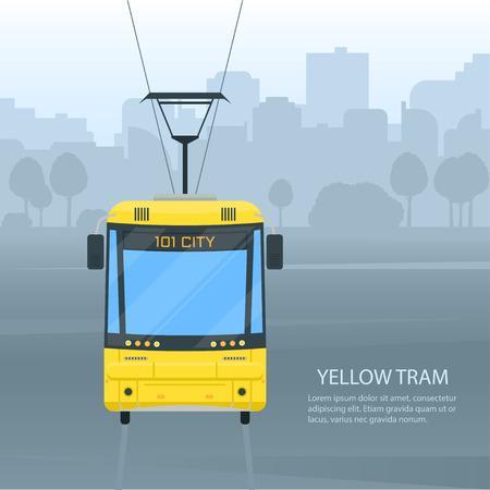 City tram public transport vector flat style illustration. Rail urban transport with cityscape background.