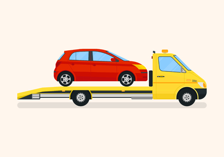 Road assistance tow truck pulls the broken car. Road service concept. Flat vector illustration.