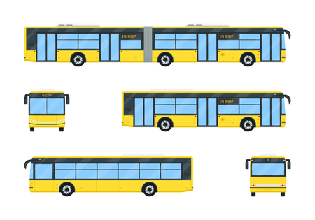 City bus set vector flat style illustration. Public transport concept. Modern simplicity design. Isolated on white background.