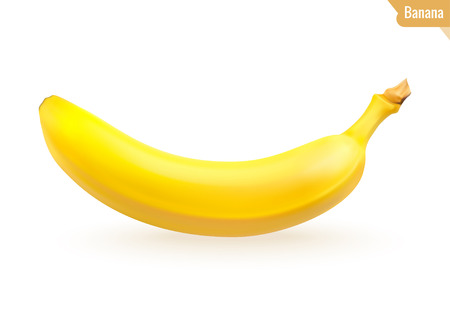 Banana isolated on white background. Realistic fruit. Vector illustration.