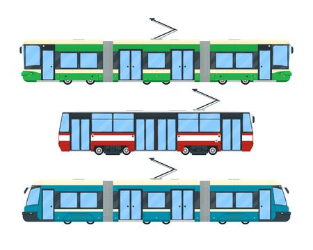 Set van tram. Openbaar stadsvervoer. Vervoer van Eco het elektrische spoorweg dat op witte achtergrond wordt geïsoleerd. Vector illustratie.