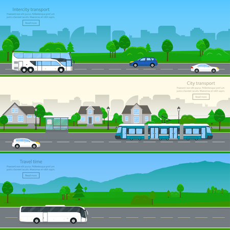 Set of flat web horizontal banners with public and private passenger transport. City, urban, suburban backgrounds. Design elements for travel, transportation, logistic, trip. Vector illustration. Ilustração