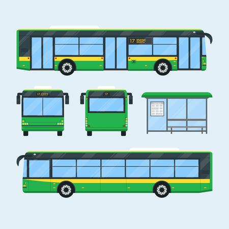 Set van bus ontwerpelementen. Voorste achterste zijaanzicht van de bus. Bushalte met tijdschema. Openbaar stadsvervoer geïsoleerd. Vector illustratie.