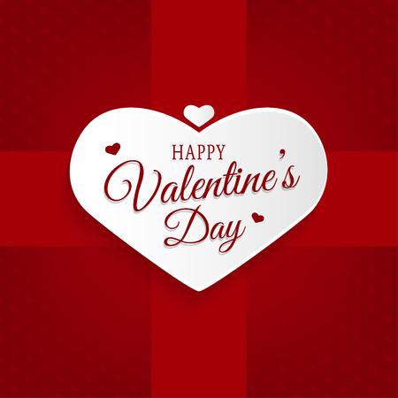 Happy Valentines Day abstract background with paper heart and lettering greeting card vector illustration. Ilustração