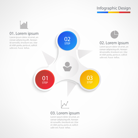 Business info-graphic design template. Creative modern concept for presentation, diagram, web design, banner, workflow layout. Vector illustration with 3 steps, options or parts.