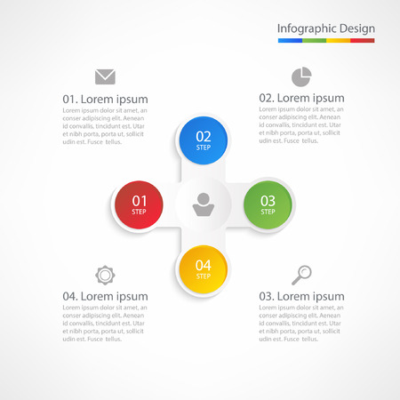Business infographic design template. Creative modern concept for presentation, diagram, web design, banner, workflow layout. Vector illustration with 4 steps, options or parts.
