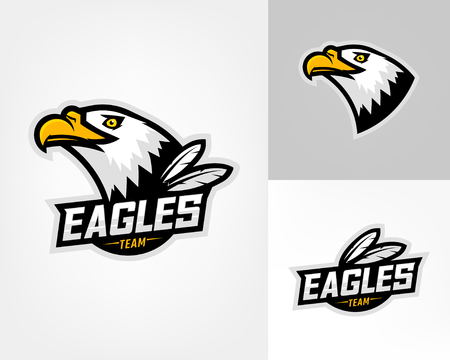 Set of three eagle logos for sport team. Emblem, team mascot, blazon, t-shirt print, label, logotype template. Vector illustration. Ilustração