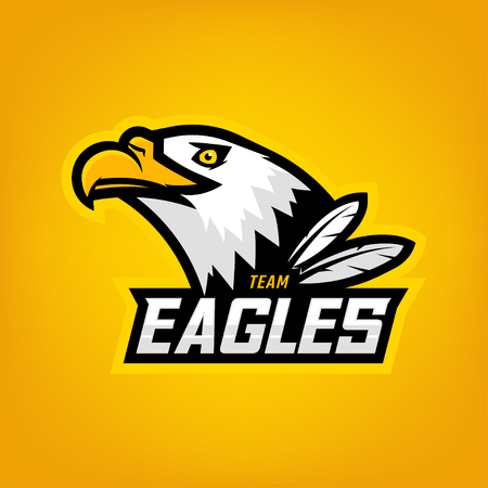 Eagle logo for sport team. Emblem, team mascot, blazon, t-shirt print, label, template. Vector illustration.