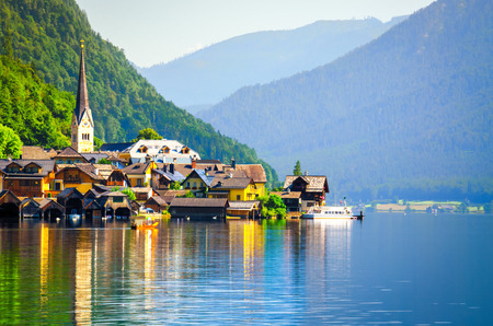 Hallstatt village in the Austrian Alps at sunrise