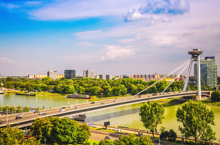 Panoramic view of Bratislava city with UFO bridge over Danube river, Slovakia. Stock fotó