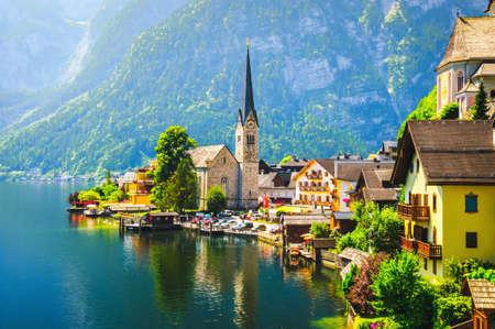 Scenic view on Hallstatt village in Austria. Stock Photo