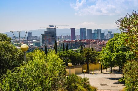 Panoramic view of business district with office buildings near Barcelona city. L'Hospitalet de Llobregat municipality 免版税图像