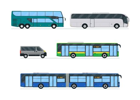 Bus set vector illustration. Urban city transport. Modern simplicity design. Isolated on white background.