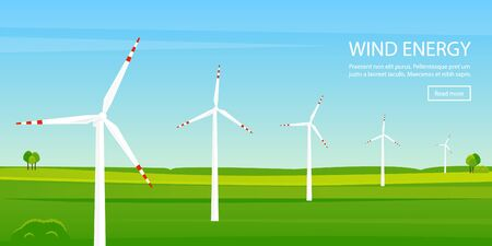 Windmill farm on green field. Electric energy background. Vector illustration