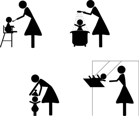 courtship: stik mother and child Illustration